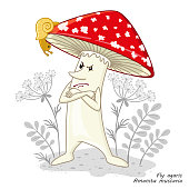 Mushrooms isolated on white. Funny character design in a cartoon style. Poisonous mushroom flu agaric. Print for childrens clothes