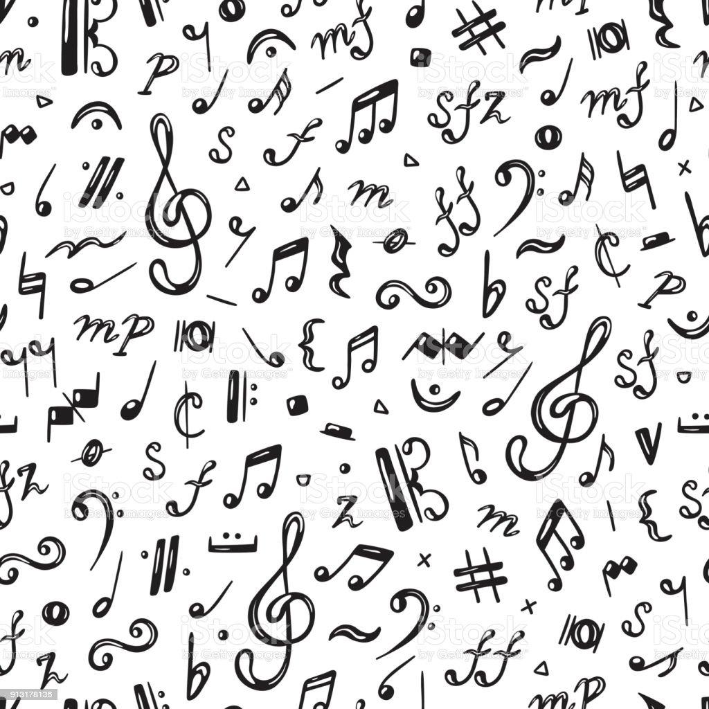 Vektör Müzik Arka Plan Nota Seamless Modeli Stok Vektör Sanatı