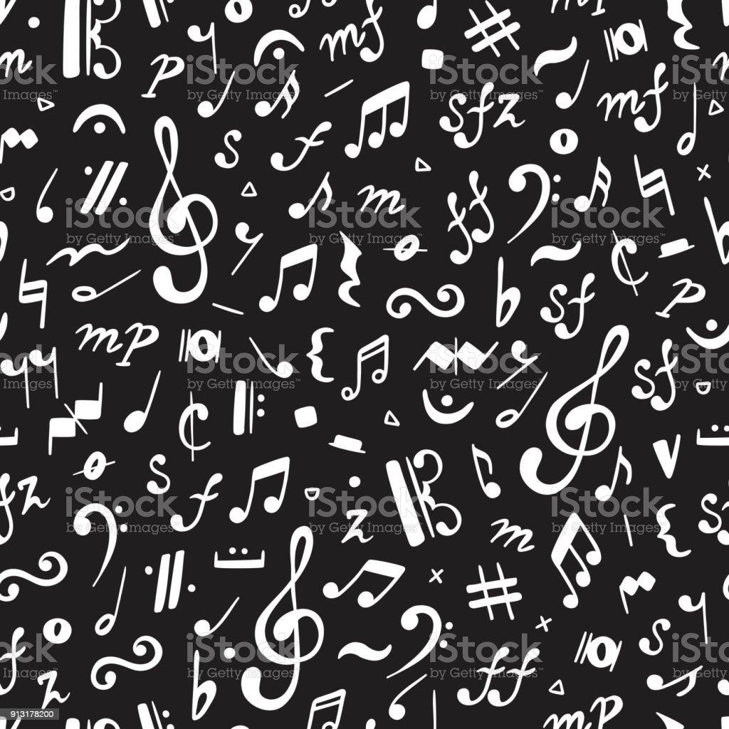 Ilustración De Vector Fondo De Música Notas Musicales De Patrones