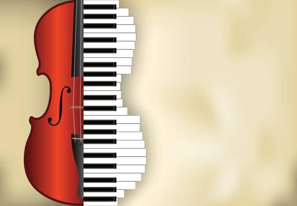 stockillustraties, clipart, cartoons en iconen met vector muziek achtergrond - viool
