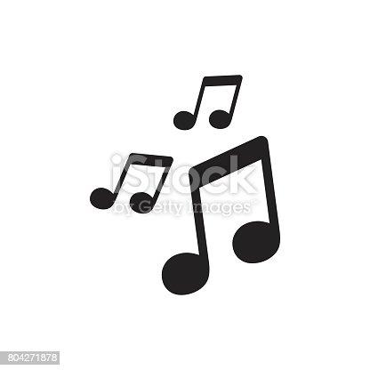 Vector music icon. Sound note illustration.