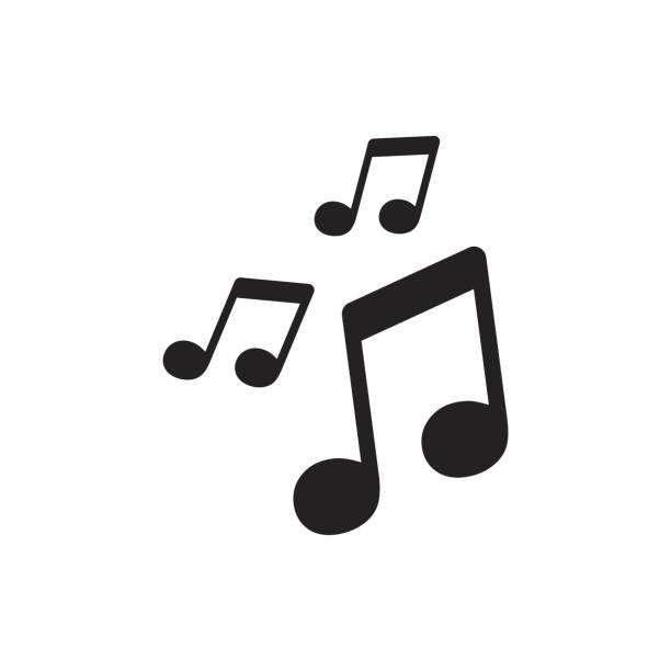 ikona muzyki wektorowej. ilustracja notatki dźwiękowej. - muzyka stock illustrations