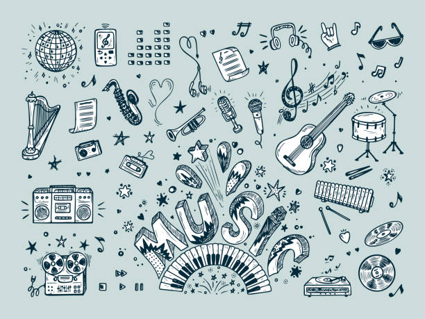 vector music icons set. hand drawn doodle musical instruments, retro musical equipment. word music. - instrument muzyczny stock illustrations