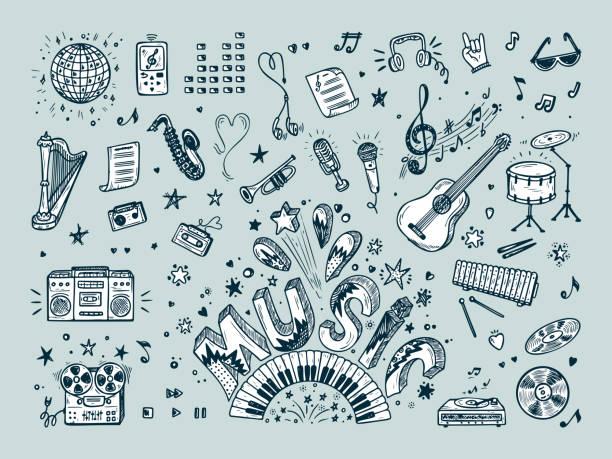 illustrations, cliparts, dessins animés et icônes de vecteur de jeu d'icônes de la musique. dessinés à la main doodle instruments de musique, équipement de musique rétro. musique de word. - musique