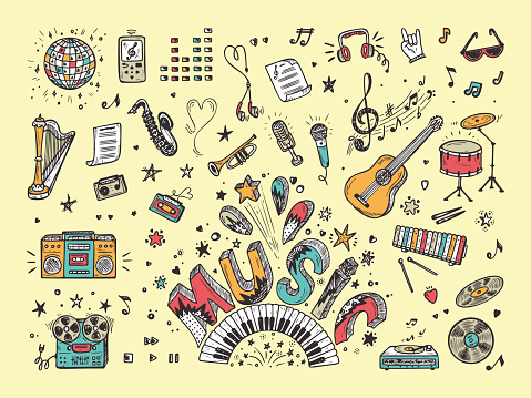 Vector Music icons set. Hand drawn doodle Musical Instruments, Retro musical equipment. Word Music.