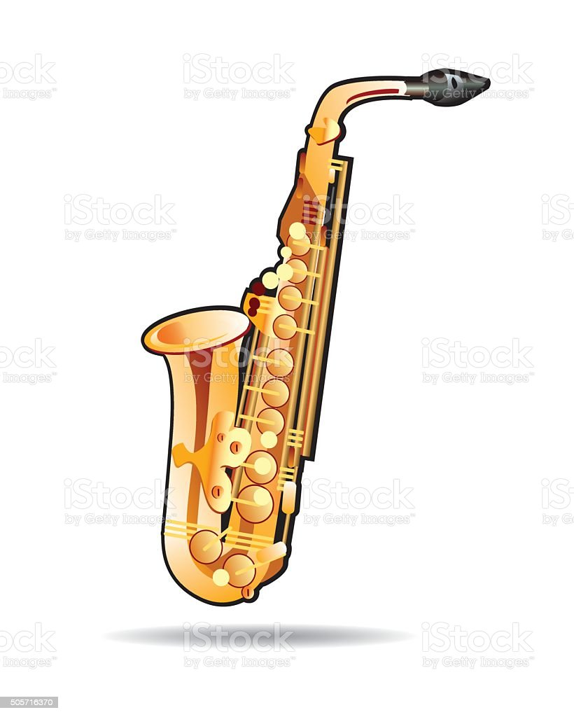 Vector music instrument. Illustration of Saxophone. vector art illustration