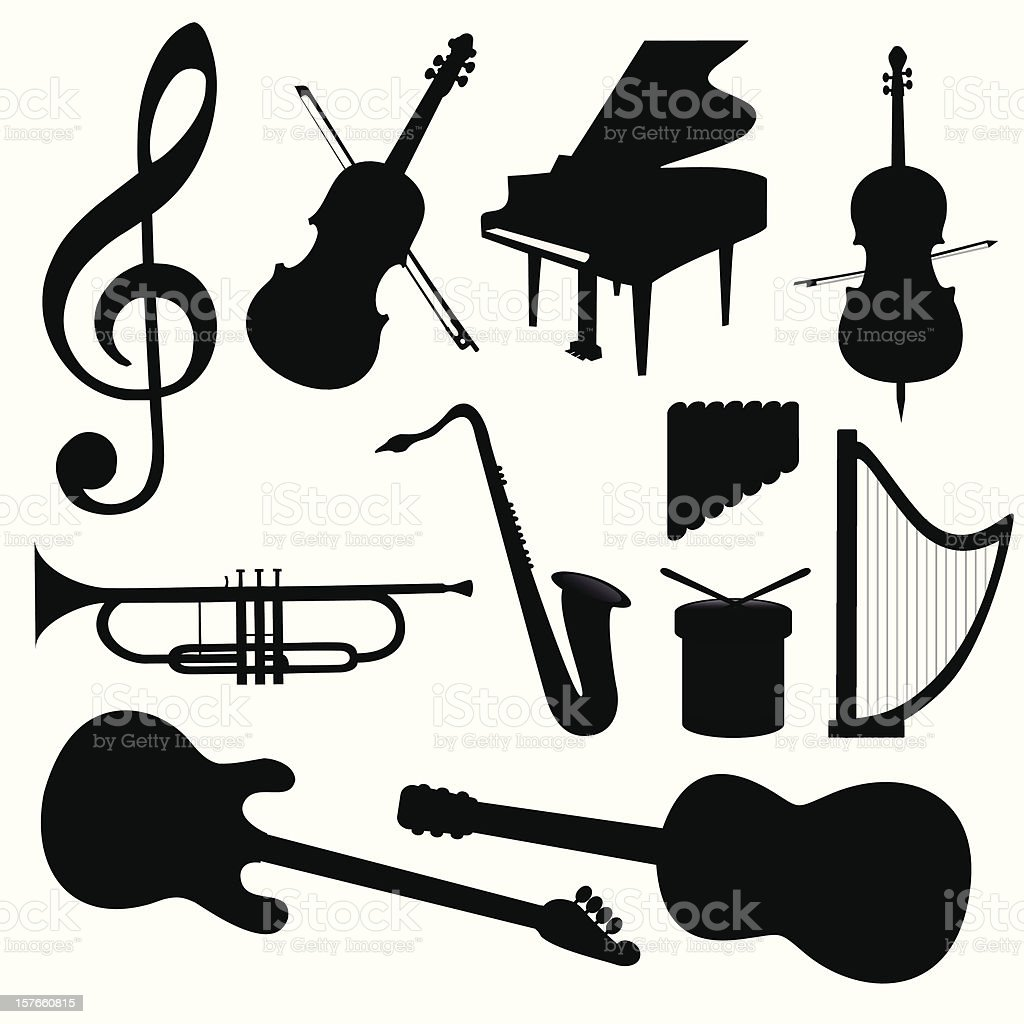 Vector Music Instruments vector art illustration
