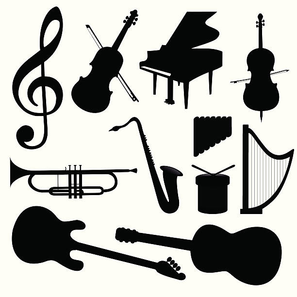 vector music instruments - piano stock illustrations