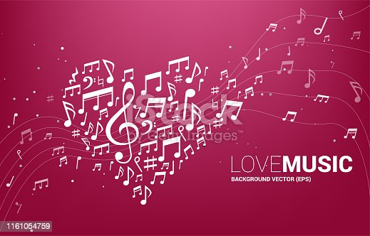 Concept background for song and love music concert theme.