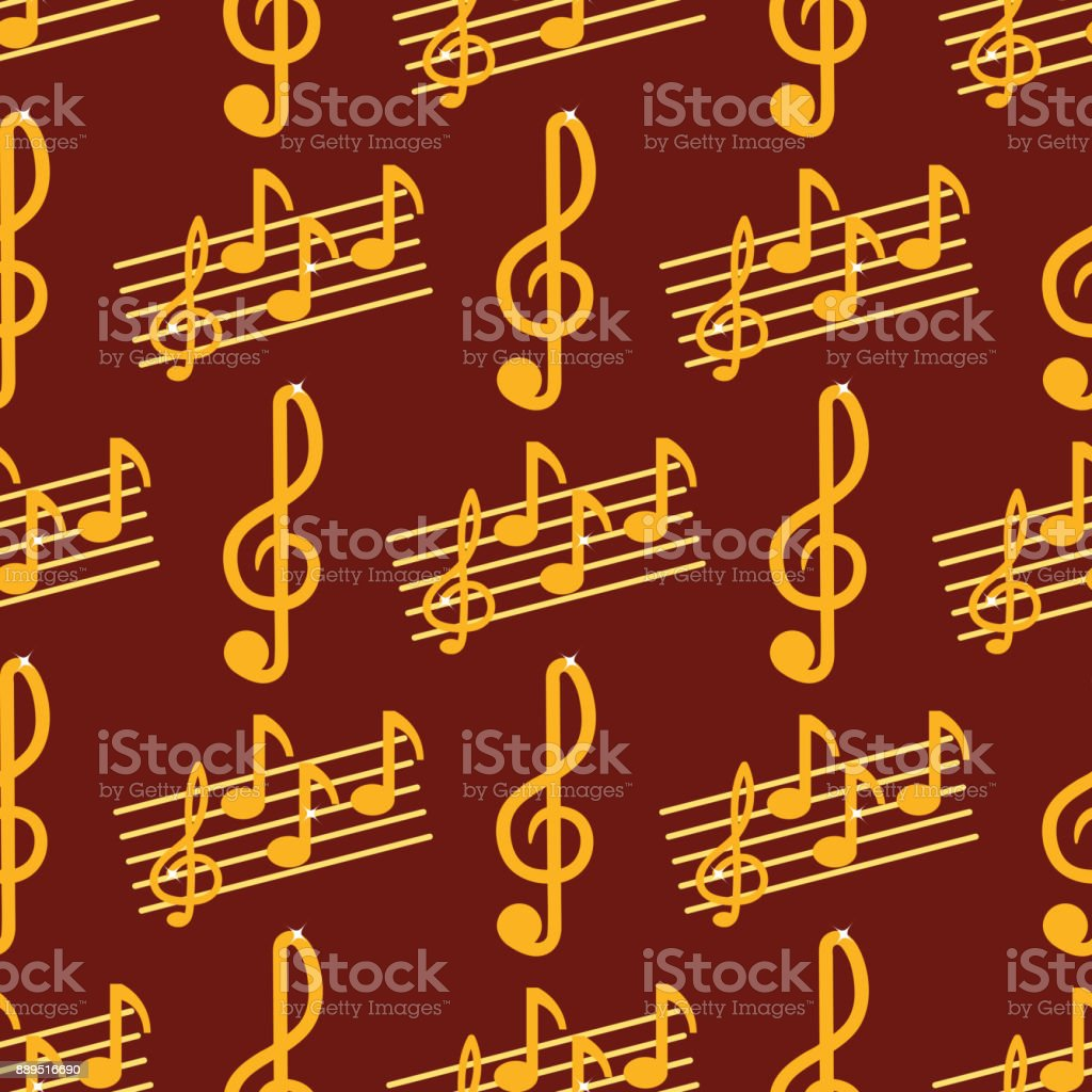 Vector music note melody symbols seamless pattern background vector illustration waves sound graphic clef signature vector art illustration