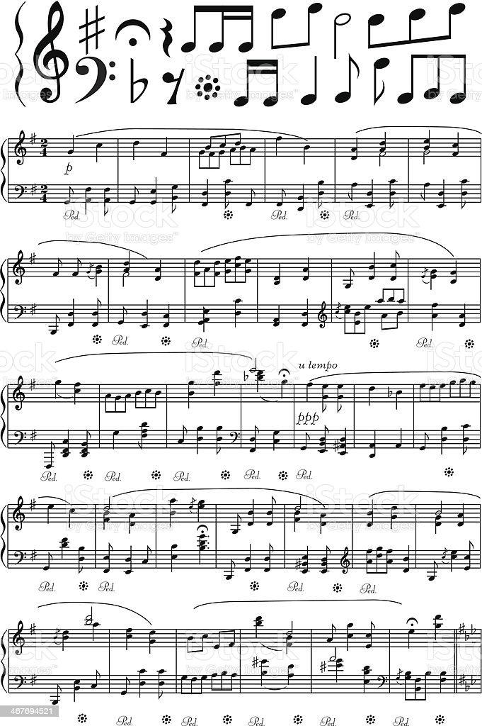 Piano piano note sheet : Vector Music Note Sheet stock vector art 467694521 | iStock