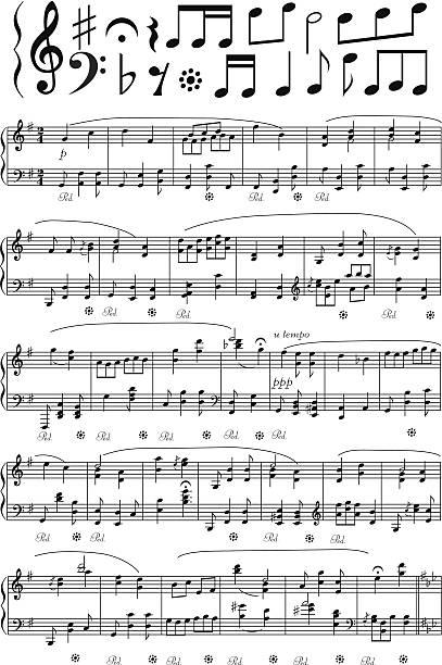 vektor-musik-hinweis-broschüre - musiksymbole stock-grafiken, -clipart, -cartoons und -symbole