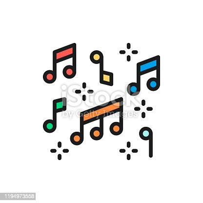 Vector music notes flat color line icon. Symbol and sign illustration design. Isolated on white background