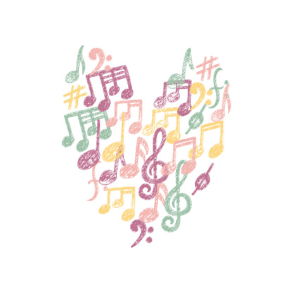 Vector Music Notes pattern in a Heart shape. Cute Music Keys t-shirt print, romantic card, love message. Printable fabric colorful design element isolated on white cover. San Valentine Day background