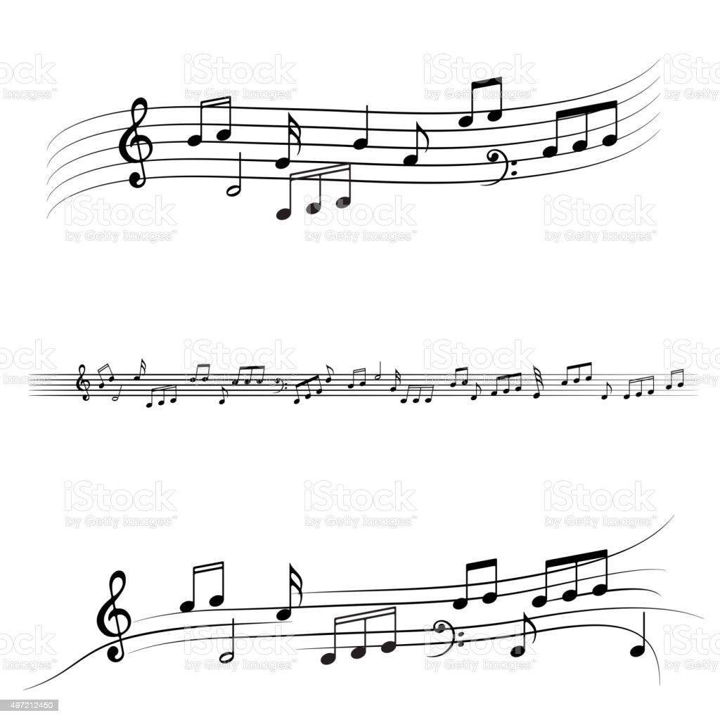 Vector music notes set vector art illustration