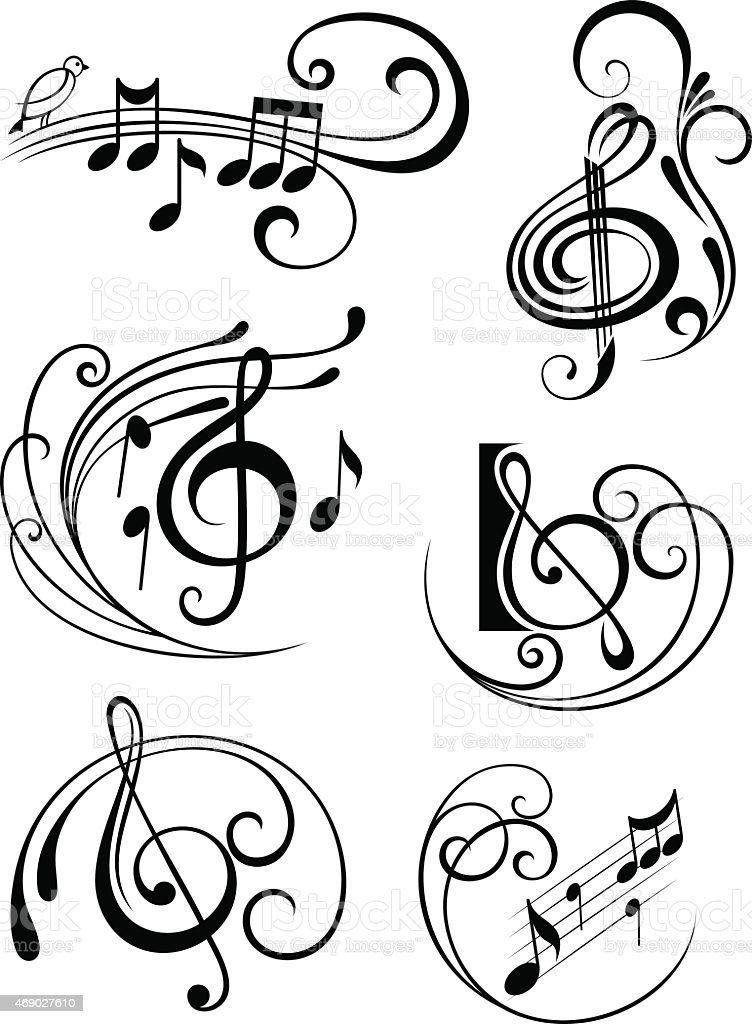 vector music notes with swirls on white background stock vector art more images of 2015. Black Bedroom Furniture Sets. Home Design Ideas
