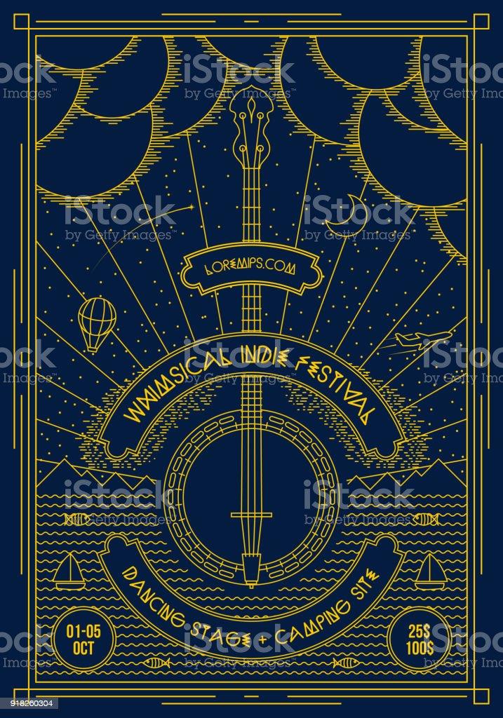 Vector muziek poster achtergrond sjabloon. - Royalty-free Abstract vectorkunst