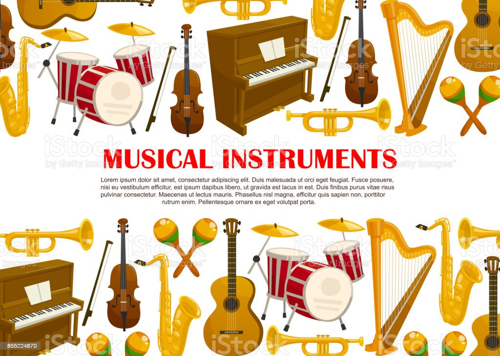 Vector music poster of musical instruments vector art illustration