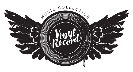 vector music poster with winged vinyl record