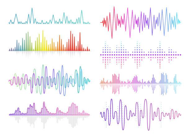 ベクトル音楽サウンドウェーブセットオーディオデジタルイコライザ技術、コンソールパネル、パルスミュージカル - 音響点のイラスト素材/クリップアート素材/マンガ素材/アイコン素材