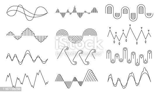 Vector music sound waves set. Audio digital equalizer technology, console panel, pulse musical