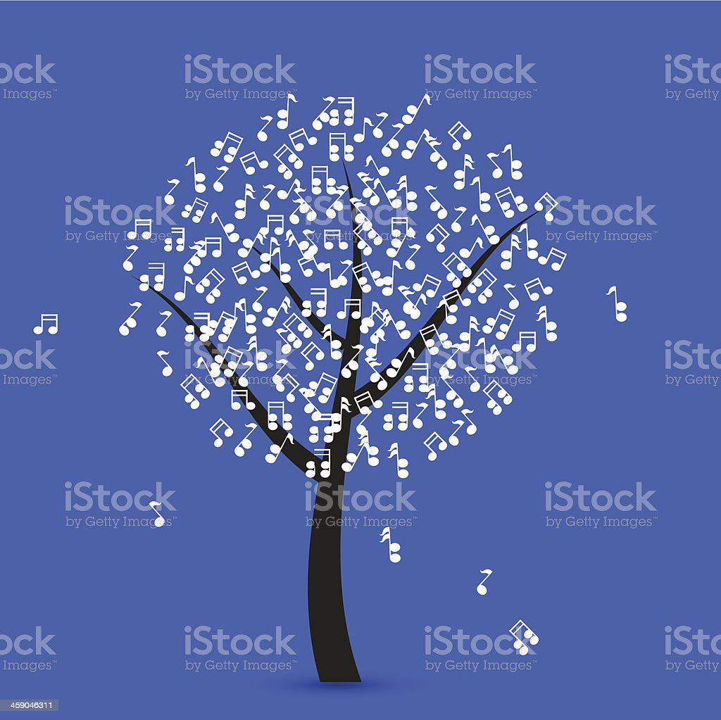 Vector music tree on blue background. Eps 10 vector art illustration
