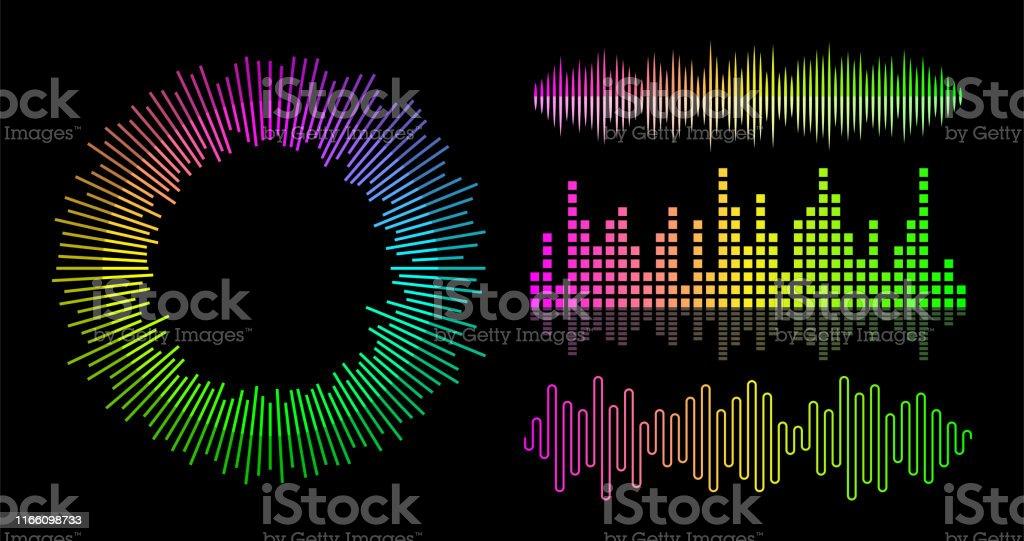 ベクトル音楽波イコライザーセット。オーディオ プレーヤーの UI 要素。 - DJのロイヤリティフリーベクトルアート