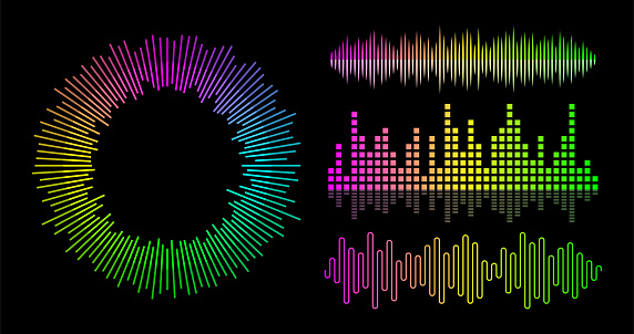 Vector music wave equalizer set. Audio player UI elements.