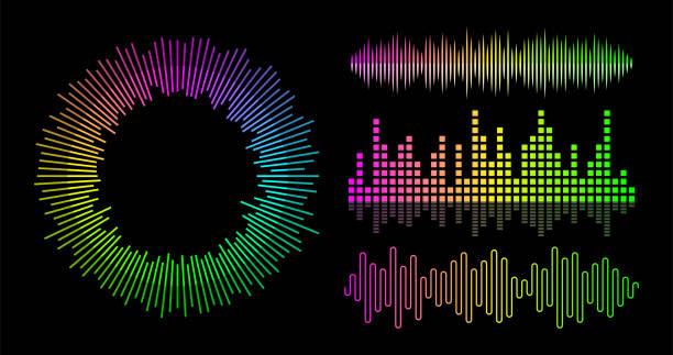 ベクトル音楽波イコライザーセット。オーディオ プレーヤーの ui 要素。 - 音響点のイラスト素材/クリップアート素材/マンガ素材/アイコン素材