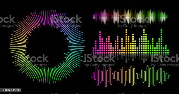 ベクトル音楽波イコライザーセットオーディオ プレーヤーの Ui 要素 - DJのベクターアート素材や画像を多数ご用意