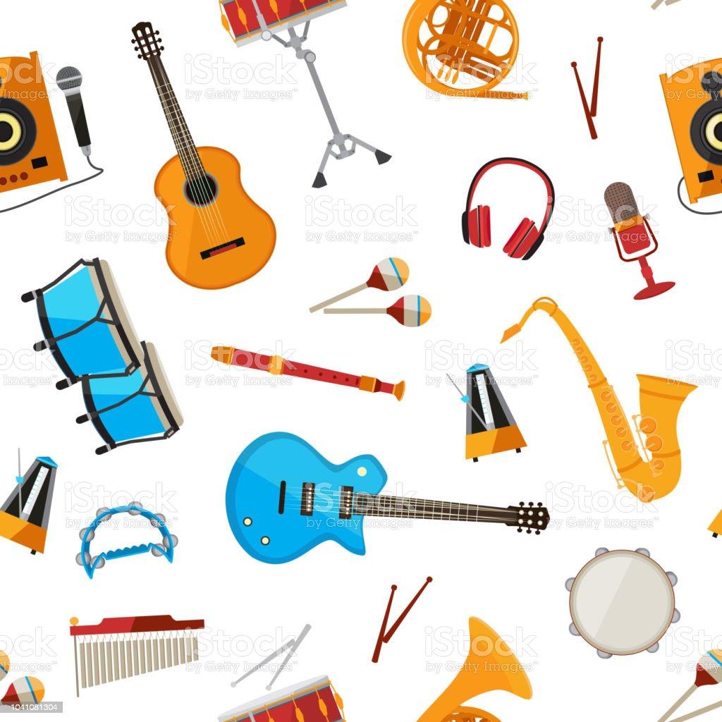 Vector musical instruments pattern vector art illustration