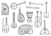 Vector musical instruments sketch design