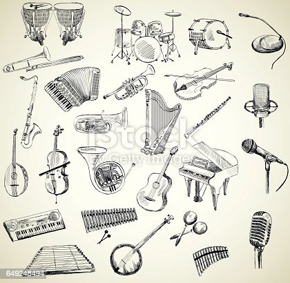 hand drawn set of classical musical instruments