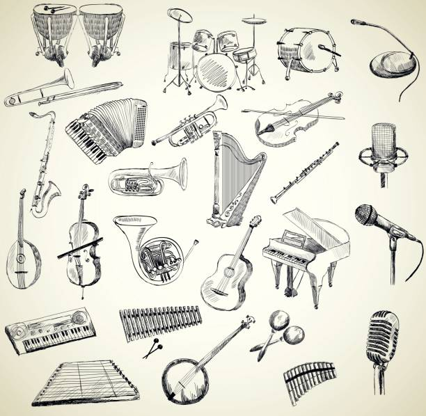 vector musical instruments - waltornista stock illustrations
