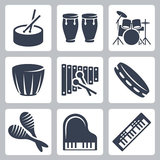 stockillustraties, clipart, cartoons en iconen met vector musical istruments: drums and keyboards - drum