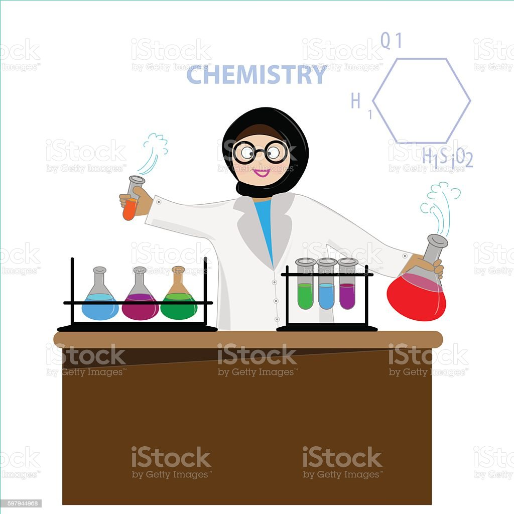 Vector Muslim Woman Scientist In Science Education Research Lab