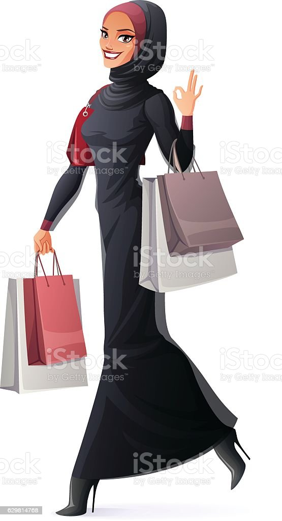 Vector Muslim woman walking with shopping bags and showing OK.