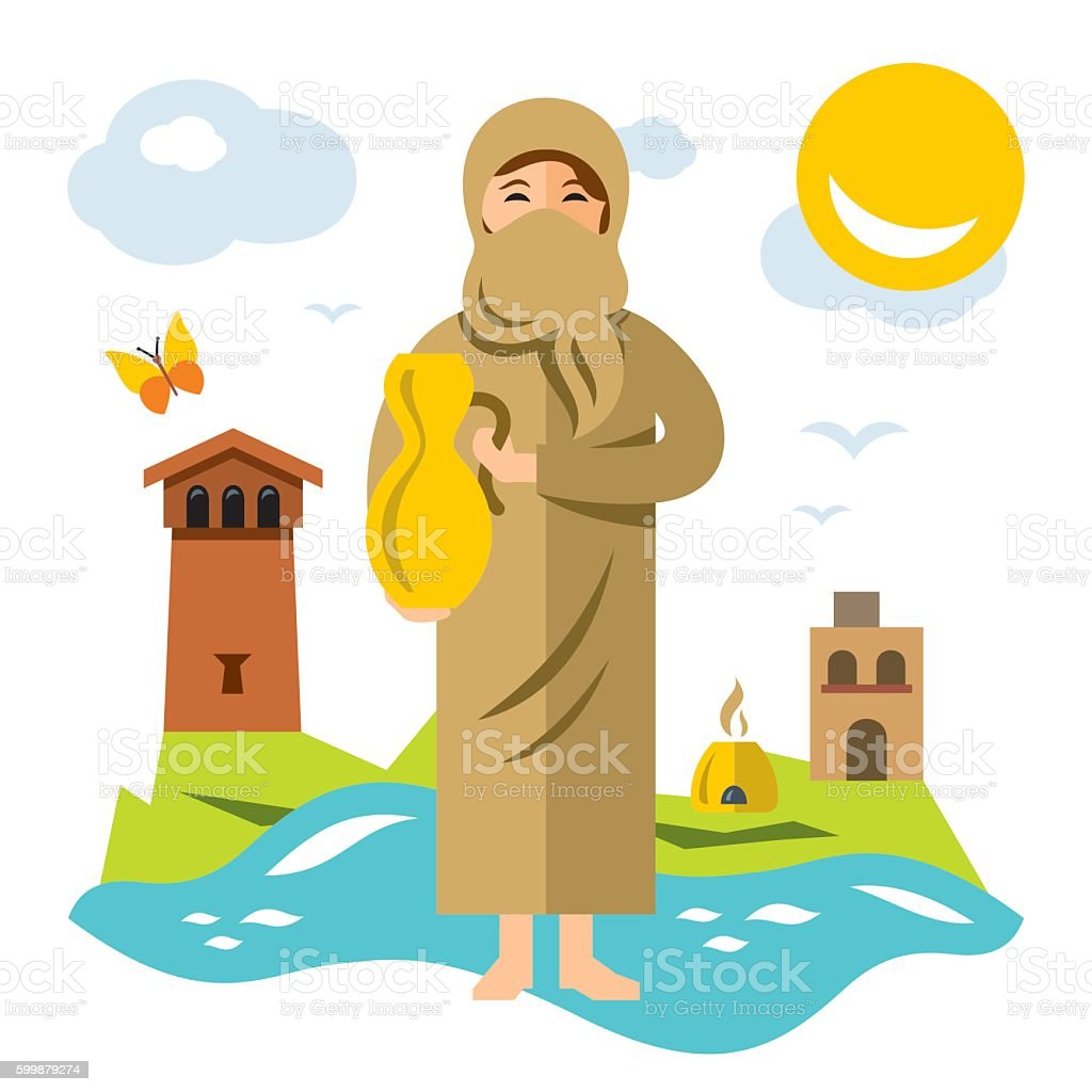 Vector Muslim woman with jug of water. Flat style colorful vector art illustration