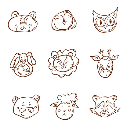 Vector muzzle animals in doodle style. Hand-drawn illustration.