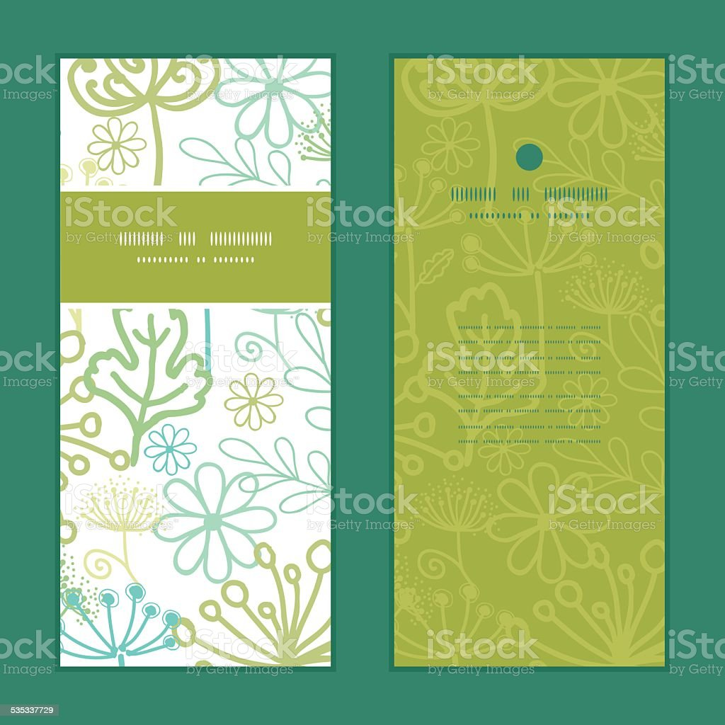 Vector Mysterious Green Garden Vertical Frame Pattern Invitation