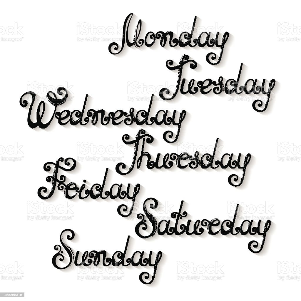 Vector Names of Days of the Week vector art illustration