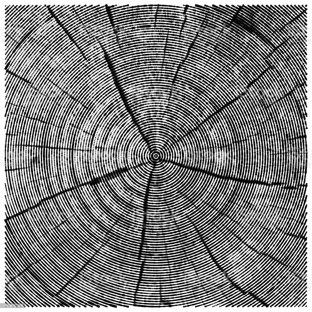 vector natural illustration of engraving saw cut tree trunk. vector art illustration