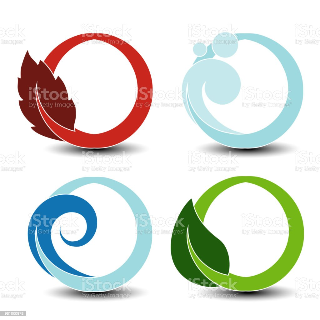 Vector Natural Symbols Fire Air Water Earth Nature Circular Elements