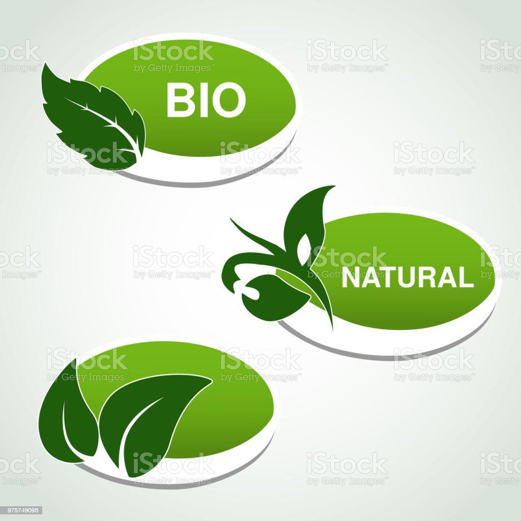 Vektor natürliche Symbole - Aufkleber mit Blatt, Pflanze - Lizenzfrei Abzeichen Vektorgrafik