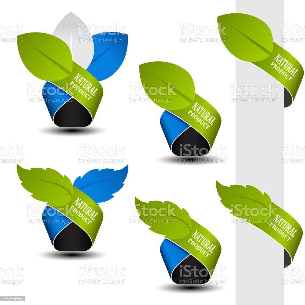Natürliche Vektorsymbolen - Band mit Blatt - Lizenzfrei Ausverkauf Vektorgrafik