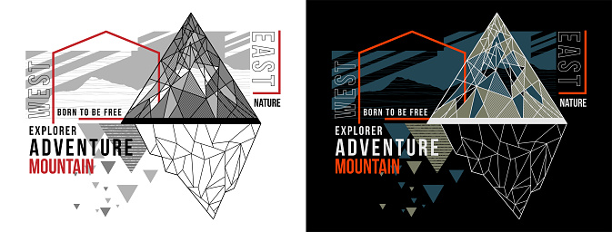 Vector nature adventure T-shirt design with triangle and line geometric abstract for silkscreen printing  on white,black background