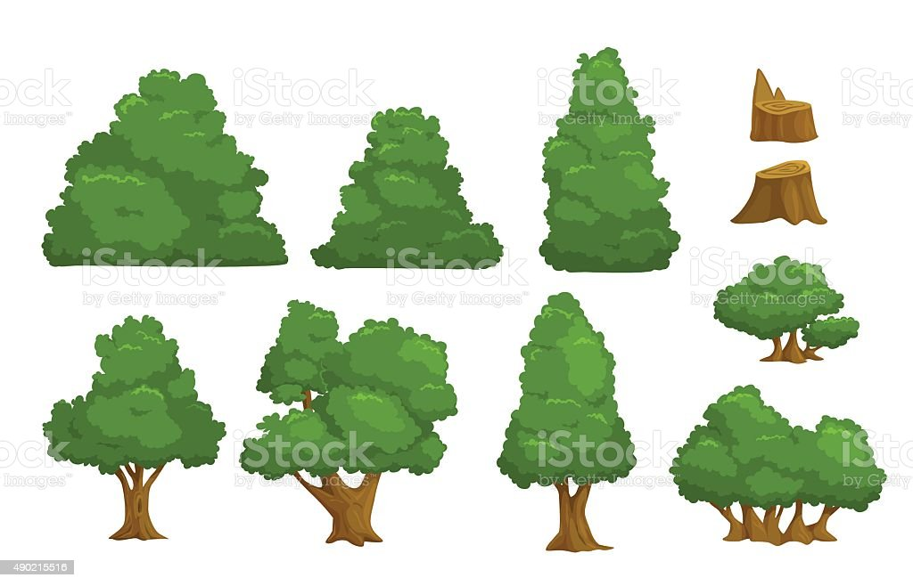 Vector nature elements set vector art illustration