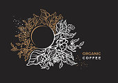 Vector nature floral template, elegant banner. Golden coffee branch, leaves flower, natural bean on black background. Organic herb plant Art deco design Luxury night garden, round cup with aroma drink