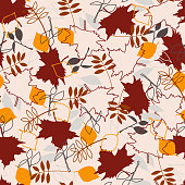 Seamless pattern abot autumn with fallen leaves from trees.