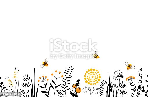 Vector nature seamless background with hand drawn wild herbs, flowers and leaves on white. Doodle style cartoon floral illustration.